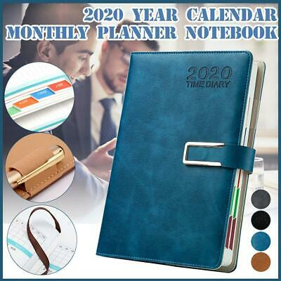 A5 PU Leather 2020 Weekly Monthly Journal Planner Diary Notebook Buckle 200Pages