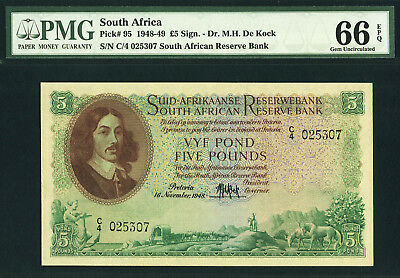 South Africa 5 Pounds 1948 Pick-95 GEM UNC PMG 66 EPQ HIGHEST GRADE !