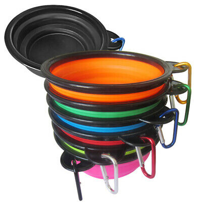 Collapsible Silicone Cat Dog Pet Feeding Bowl Water Dish Feeder Travel Portable