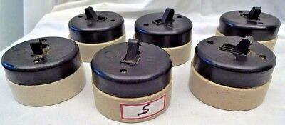 ELECTRIC SWITCHES VINTAGE BAKELITE 16A 250V VITREOUS 6 Pc INDIA MADE COLLECTIB#5