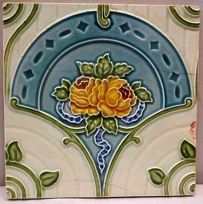 Tile Ceramic Porcelain Vintage Art Nouveau Rose H & R Johnson England Genuine #5