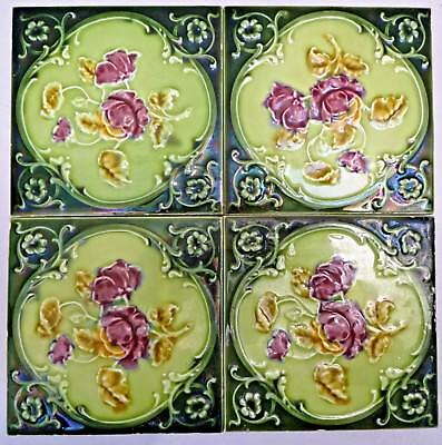 Tile Majolica Vintage England Art Nouveau Porcelain Rose Purple 4 Pieces Set#13