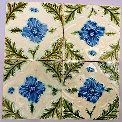 Tile Majolica Vintage England Art Nouveau Porcelain Flower Purple 4 Piece Set#14
