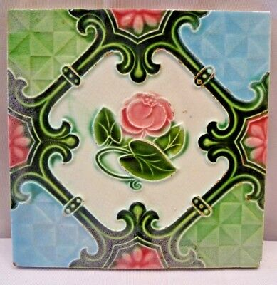 Tile Majolica Japan Art Deco Style Ceramic Porcelain Flower Design Collecti# 221