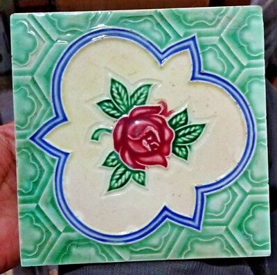 Tile Porcelain Ceramic Art Nouveau Majolica Rose Green Vintage Japan Collect#195