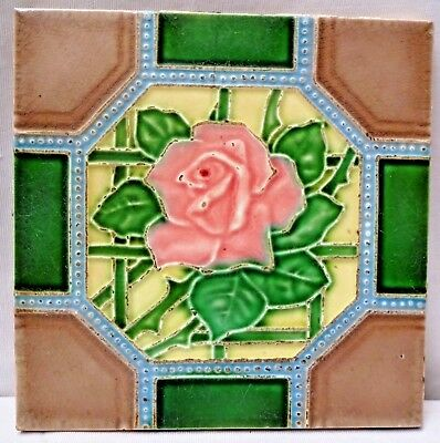 Tile Vintage Majolica Ceramic Porcelain Made In Japan Art Noveau Collectible#184