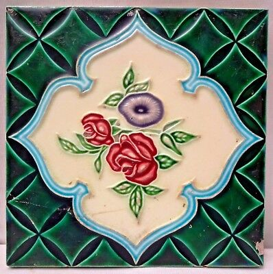 Tile Vintage Majolica Ceramic Porcelain Made In Japan Art Noveau Collectible#183