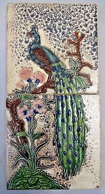 Tile Peacock On Tree Vintage Ceramic Porcelain Art Nouveau India Gwalior Old#278