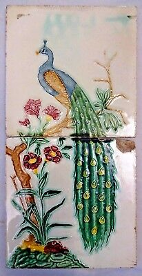 Tile Peacock On Tree Vintage Ceramic Porcelain Art Nouveau India Gwalior Old#277