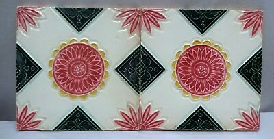 Vintage Ceramic Porcelain Majolica Tile Geometric Design Architecture Collectibl