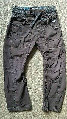 NEXT Boys Brown Cotton Cargo Combat Trousers Elasticated Drawstring *Age 5 Years