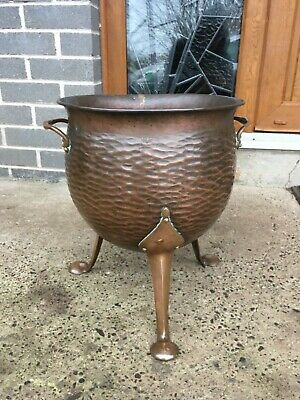 Antique Large Art Nouveau Copper Pot Planter Jardiniere 3 Legs Hand Made