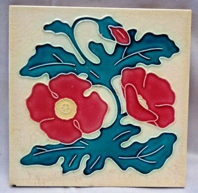 Vintage Tile Majolica Japan Fm Red Flower Ceramic Porcelain Decorative Rare #251
