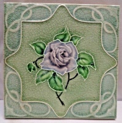 Vintage Tile England Old Majolica Art Nouveau Ceramic Porcelain Collectibles#250