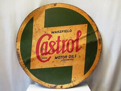 Vintage Wakefield Castrol Motor Oil Advertising Tin Sign Litho Collectibles *12