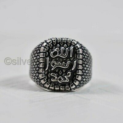 Allah Symbol Solid 925 Sterling Silver Black Enamel New Year Gift Mens Huge Ring