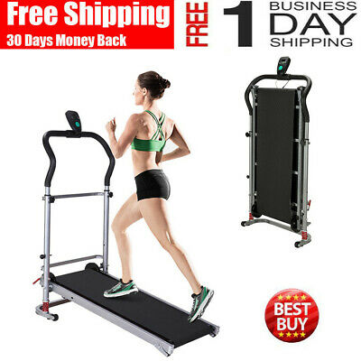 Folding Manual Treadmill Working Machine Cardio Fitness Incline Portable