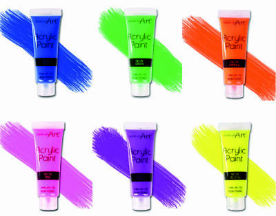 6 Work of Art - 120 ml Neon Acrylic Paints All Colour Tubes For Art & Craft