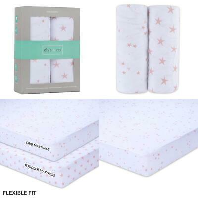 Ely'S  Co. Crib Sheet - Toddler Bed Sheet 100% Jersey Cotton 2 Pack For Baby Gi