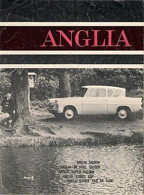 Ford Anglia 105E 1963-64 UK Market Foldout Sales Brochure De Luxe Super Estate