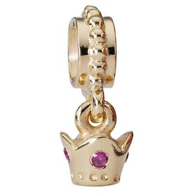 NEW 14K Yellow Gold Pandora Pink Sapphire Crown Dangle Charm 750434PSA Retired