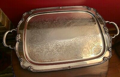 """LARGE 29"""" handled ROGERS REMEMBRANCE International SILVERPLATE WAITER 22"""" TRAY"""