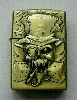 "Free P&P Old Time Zippo Petrol Lighter ""Skull & Dice"" Style Brass"