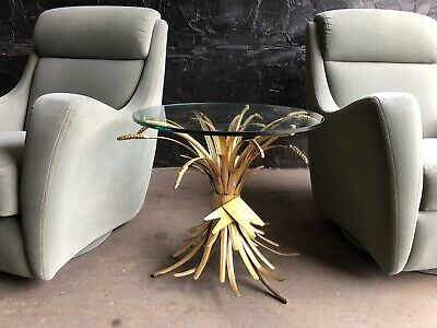 Wheat Sheaf Coffee Side Table Gilded Gold Hollywood Regency Mid Century Italy