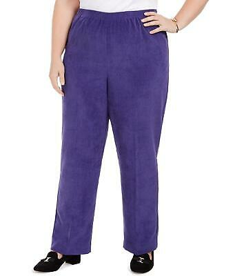 Alfred Dunner Womens Ladies Purple Elastic Waistband Corduroy Pants Size 24W