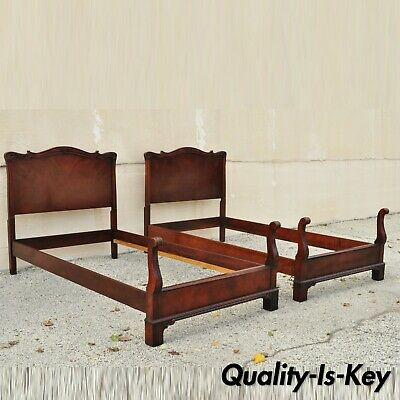 Pair of Antique Mahogany Chinese Chippendale Twin Single Carved Bed Frames