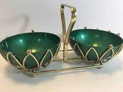 Mid Century Modern Chip And Dip Condiment Candy Nut Bowl Green/Gold Tone USA B23