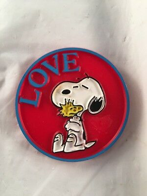Vintage Peanuts Snoopy & Woodstock LOVE Pin Red Color By Butterfly Originals