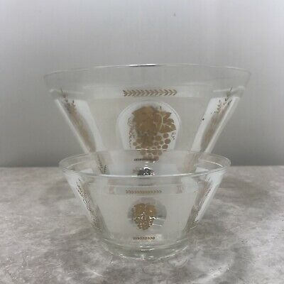Mid Century Modern George Briard  Gold Grape Design Chip And Dip Set No Stand