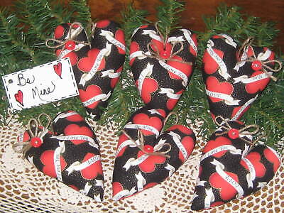 6 Black Hearts Valentine's Day Decor Bowl Fillers Tree Ornaments Wreath Accents