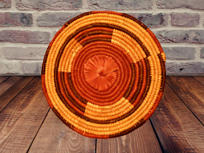 Tray Hand Woven Basket Coiled Vintage Large Decor TRIBE AKAN