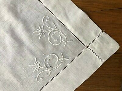 Vintage Hemstitched White on White Embroidered  Linen Table Topper