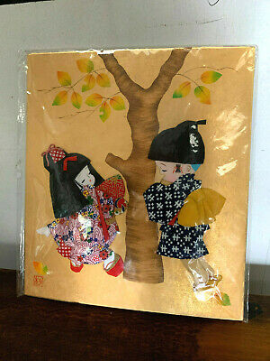 Japanese OSHIE FABRIC PATCH ART cute children traditional 3-D Textile picture