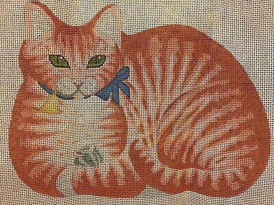 Vintage Hand Painted Cat Canvas For Needlepoint Bow Bell