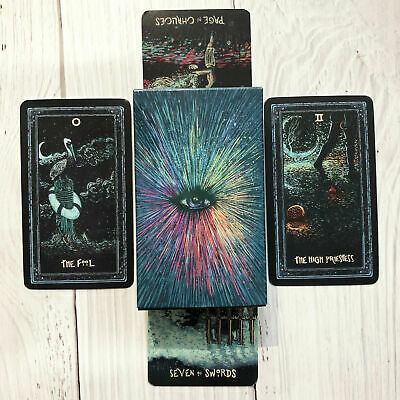 NEW 78 Tarot Cards Deck Silver Plating Prisma Visions Divination Board Game US