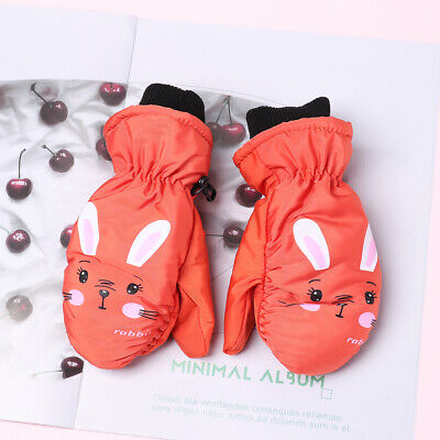 Waterproof Lovely Thick Velvet Knitted Mittens Windproof Children Ski Gloves