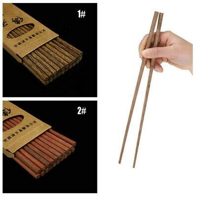 10 Pairs Chopstick Reusable Wooden Bamboo Chinese Japanese Chop Stick