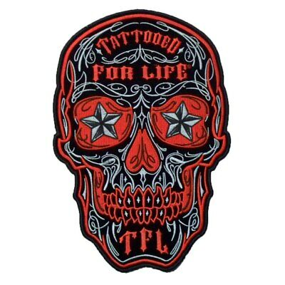 Red Tattooed For Life Motorcycle Embroidery Iron On Patch Skull Custom Punk Bike