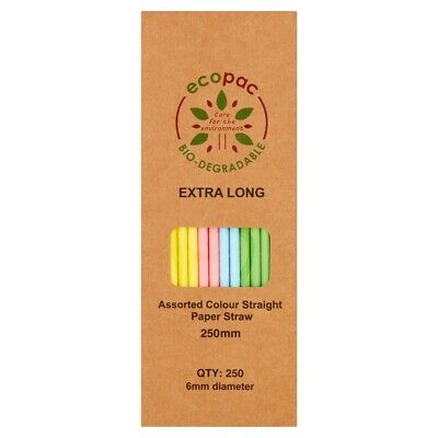 Extra Long Assorted Colour Straight Paper Straws - Biodegradable