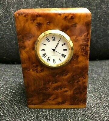 Beautiful Square Burr Walnut Pen, Desk Tidy with Clock - Solid Wood