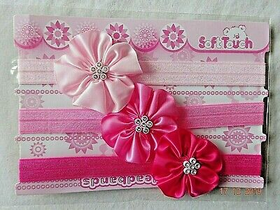 Baby Girl Pink Headbands, Hairband Diamante Set Of 3