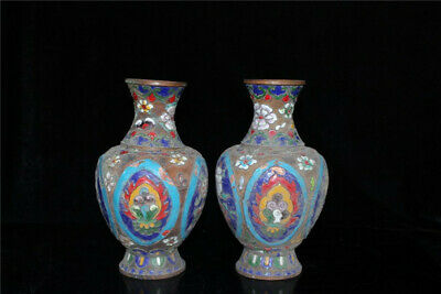 "8.07"" Chinese purple copper Cloisonne painted flower Handmade Vase A pair"