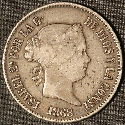 1868 Philippines 50 Silver Centimos - Free Shipping USA
