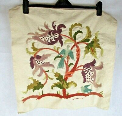 Vintage Birds & Floral Completed Scene Hand Embroidered Panel - Crafting Project