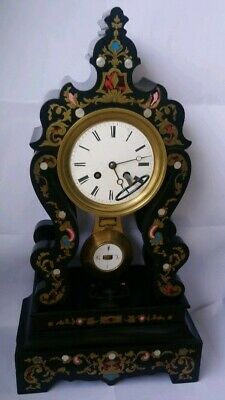 Antique 19thCentury French  Inlaid Large Ebonised Mantel Clock
