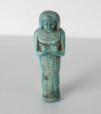 Archaic Egyptian Faience Pottery Shabti figure, Late Period? turquoise blue
